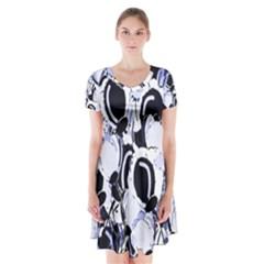Blue Abstract Floral Design Short Sleeve V Neck Flare Dress