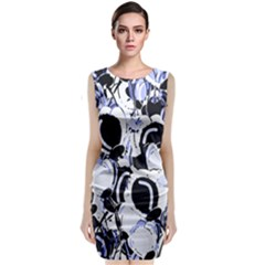 Blue Abstract Floral Design Classic Sleeveless Midi Dress
