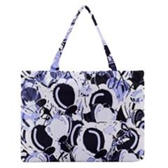 Blue abstract floral design Medium Zipper Tote Bag