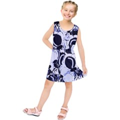 Blue abstract floral design Kids  Tunic Dress