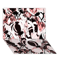 Pink Abstract Garden Peace Sign 3d Greeting Card (7x5)