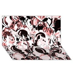 Pink Abstract Garden Best Sis 3d Greeting Card (8x4)