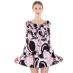 Pink abstract garden Long Sleeve Velvet Skater Dress