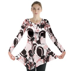 Pink Abstract Garden Long Sleeve Tunic