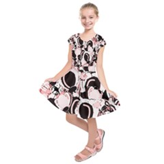 Pink Abstract Garden Kids  Short Sleeve Dress