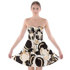 Orange abstract garden Strapless Bra Top Dress