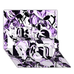 Purple abstract garden Miss You 3D Greeting Card (7x5)