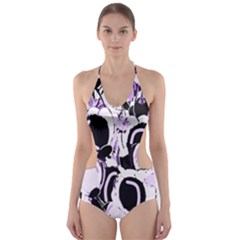 Purple Abstract Garden Cut Out One Piece Swimsuit