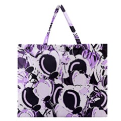 Purple abstract garden Zipper Large Tote Bag