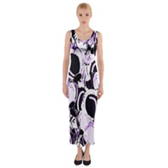 Purple abstract garden Fitted Maxi Dress