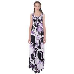 Purple abstract garden Empire Waist Maxi Dress