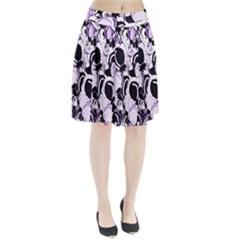 Purple abstract garden Pleated Skirt