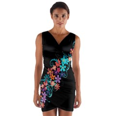 Coorful Flower Design On Black Background Wrap Front Bodycon Dress