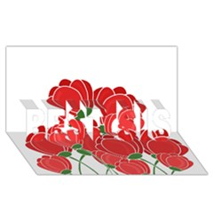Red Floral Design Best Sis 3d Greeting Card (8x4)