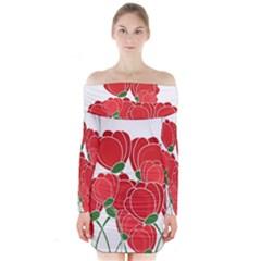 Red Floral Design Long Sleeve Off Shoulder Dress