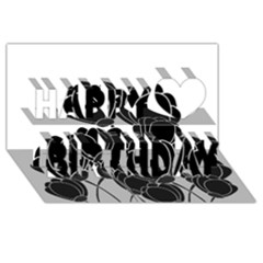 Black Flowers Happy Birthday 3d Greeting Card (8x4)