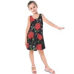 Red roses Kids  Sleeveless Dress