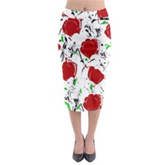 Red Roses 2 Midi Pencil Skirt