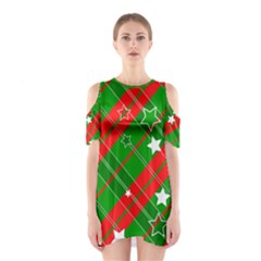 Background Abstract Christmas Cutout Shoulder Dress