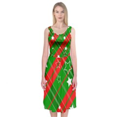 Background Abstract Christmas Midi Sleeveless Dress