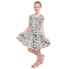 Multicolor Leaves Design  Kids  Short Sleeve Dress