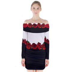 Black And White With Red Roses Design  Long Sleeve Off Shoulder Dress