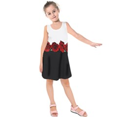 Black And White With Red Roses Design  Kids  Sleeveless Dress