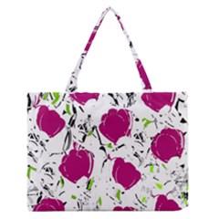 Magenta roses Medium Zipper Tote Bag