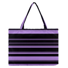 Lavender Stripes Medium Zipper Tote Bag