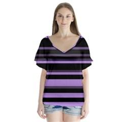Lavender Stripes Flutter Sleeve Top