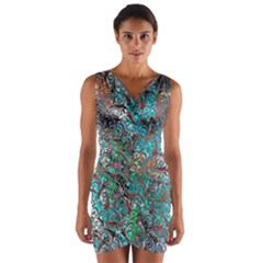 Colorful Abstract Painting Design  Wrap Front Bodycon Dress