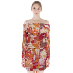 Colorful Abstract Painting Design  Long Sleeve Off Shoulder Dress