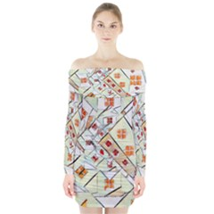 Multicolor Abstract Painting  Long Sleeve Off Shoulder Dress