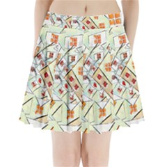 Multicolor Abstract Painting  Pleated Mini Skirt