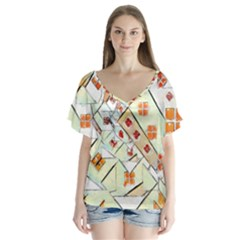 Multicolor Abstract Painting  Flutter Sleeve Top