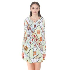 Multicolor Abstract Painting  Flare Dress