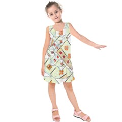 Multicolor Abstract Painting  Kids  Sleeveless Dress