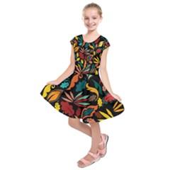 Colorful Leaves Design On Black Background  Kids  Short Sleeve Dress