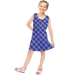Blue And White Checkered Painting Design  Kids  Tunic Dress
