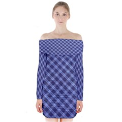 Blue And White Checkered Painting Design  Long Sleeve Off Shoulder Dress
