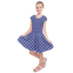 Blue And White Checkered Painting Design  Kids  Short Sleeve Dress