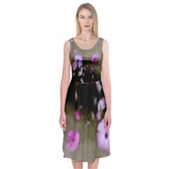 Painted Purple Flowers Midi Sleeveless Dress