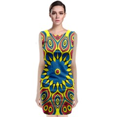 Yellow Flower Mandala Classic Sleeveless Midi Dress