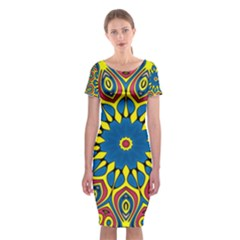 Yellow Flower Mandala Classic Short Sleeve Midi Dress