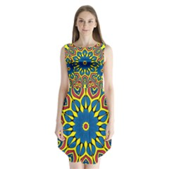 Yellow Flower Mandala Sleeveless Chiffon Dress