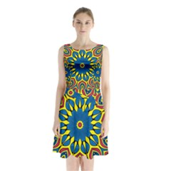 Yellow Flower Mandala Sleeveless Chiffon Waist Tie Dress
