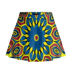 Yellow Flower Mandala Mini Flare Skirt