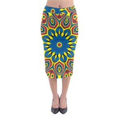 Yellow Flower Mandala Midi Pencil Skirt