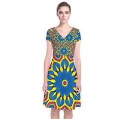 Yellow Flower Mandala Short Sleeve Front Wrap Dress
