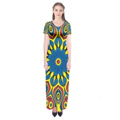 Yellow Flower Mandala Short Sleeve Maxi Dress
